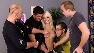 Blonde Lena Cova Gets Wild Gang Bang with Handjobs Blowjobs and DP