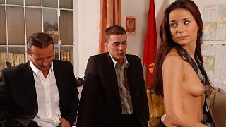 Brunette Claudia Rossi MMF Threeway Office Sex with Blowjob and Facial