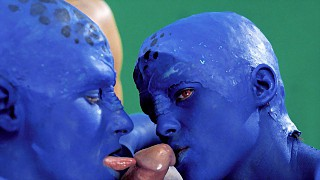 Blue Aliens Stephanie and Tavalia Griffin Have Sex Male with Earthling