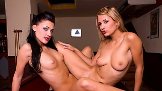 Lesbians Aletta Ocean and Regina Ice Play Sixty Nine on a Pool Table