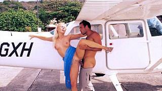 Sandra Russo Has Her Pussy Penetrated up against a Plane before Anal